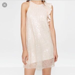 Nwot Zara Blush Sequin Ruffle Dress. Sz Medium